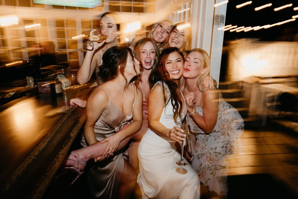 Fun Party Reception Photo of the bride and her friends at her Manor house Wedding