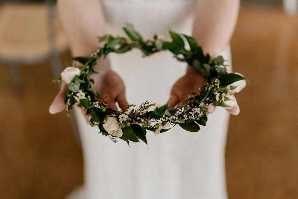 Flower Crown to be worn by the bride at hickory street annex wedding