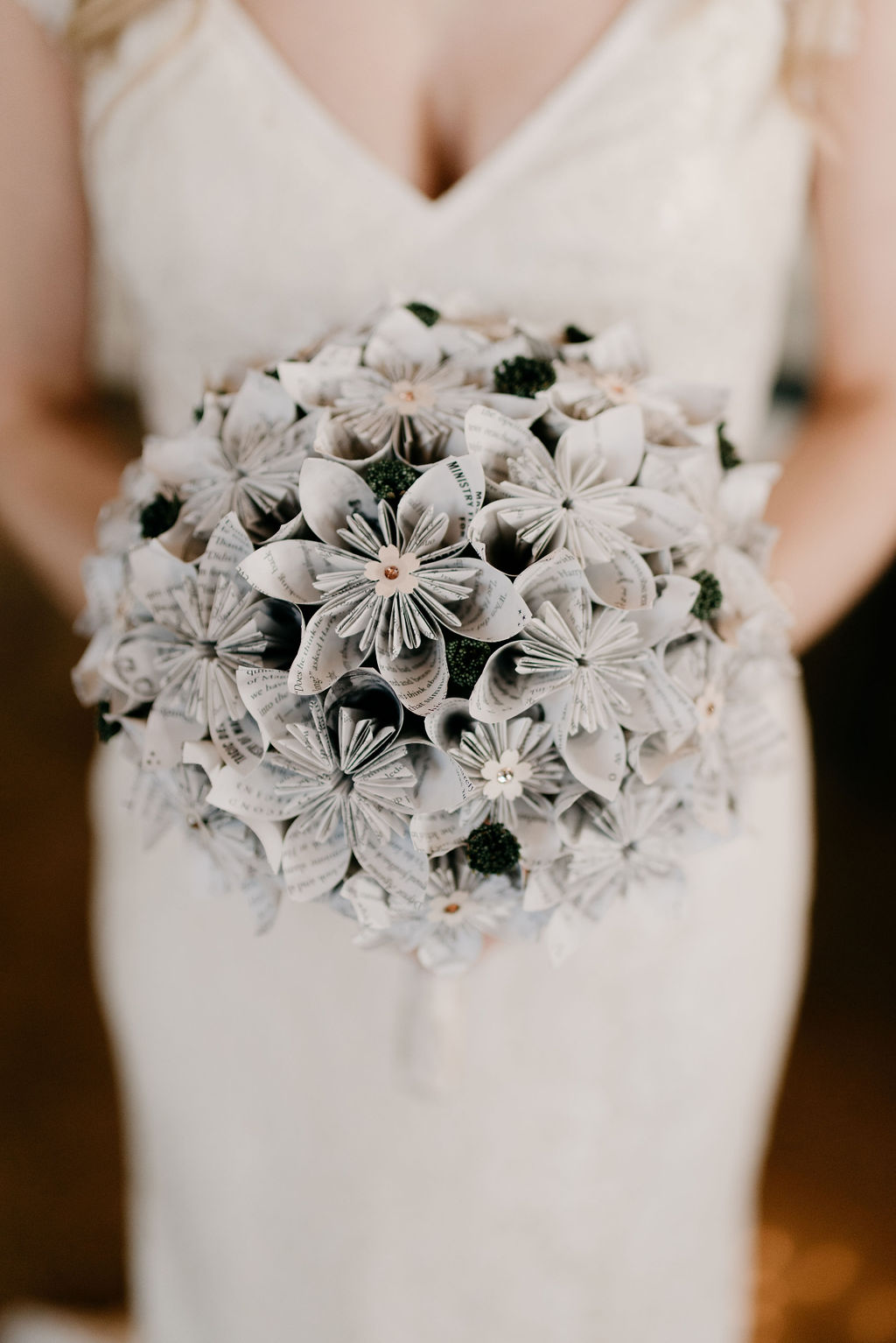Awesome paper bridal bouquet created from the pages of the Harry Potter Books