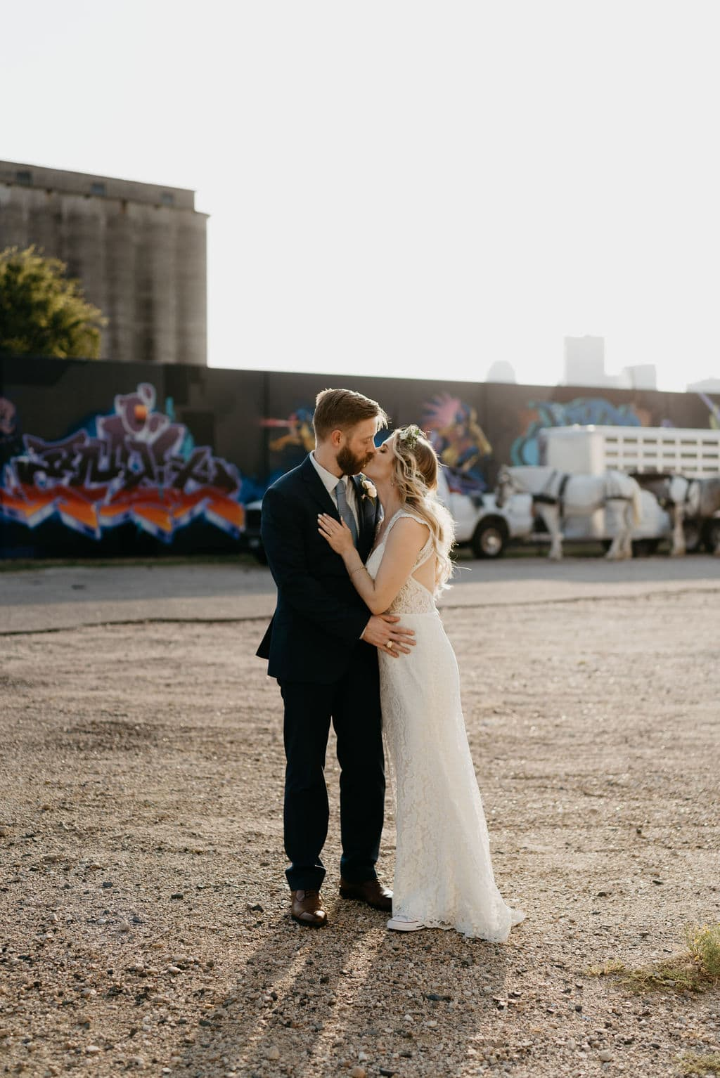 Bride and groom portraits from their Hickory Street Annex Wedding reception