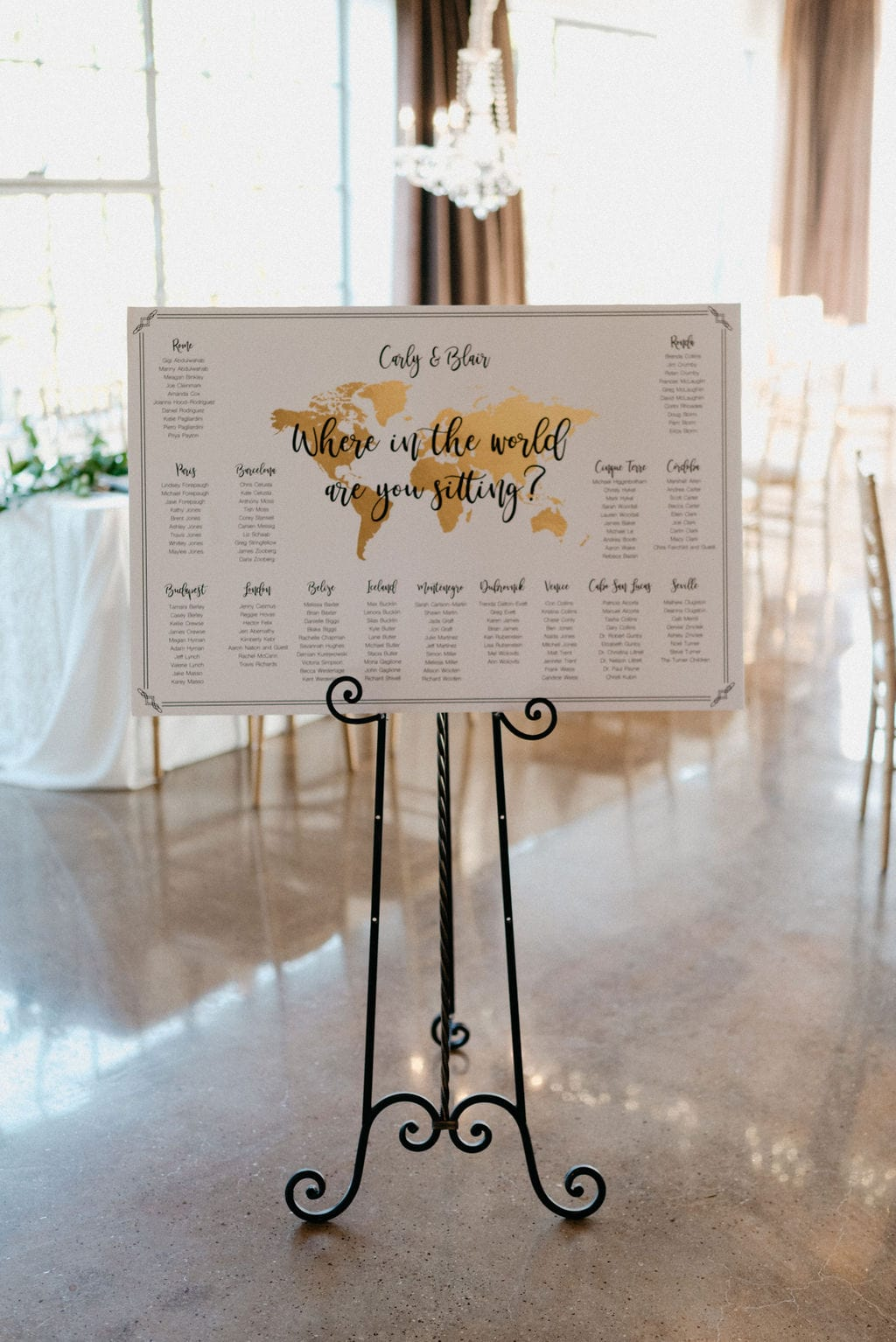 Wedding reception table assignments on world map