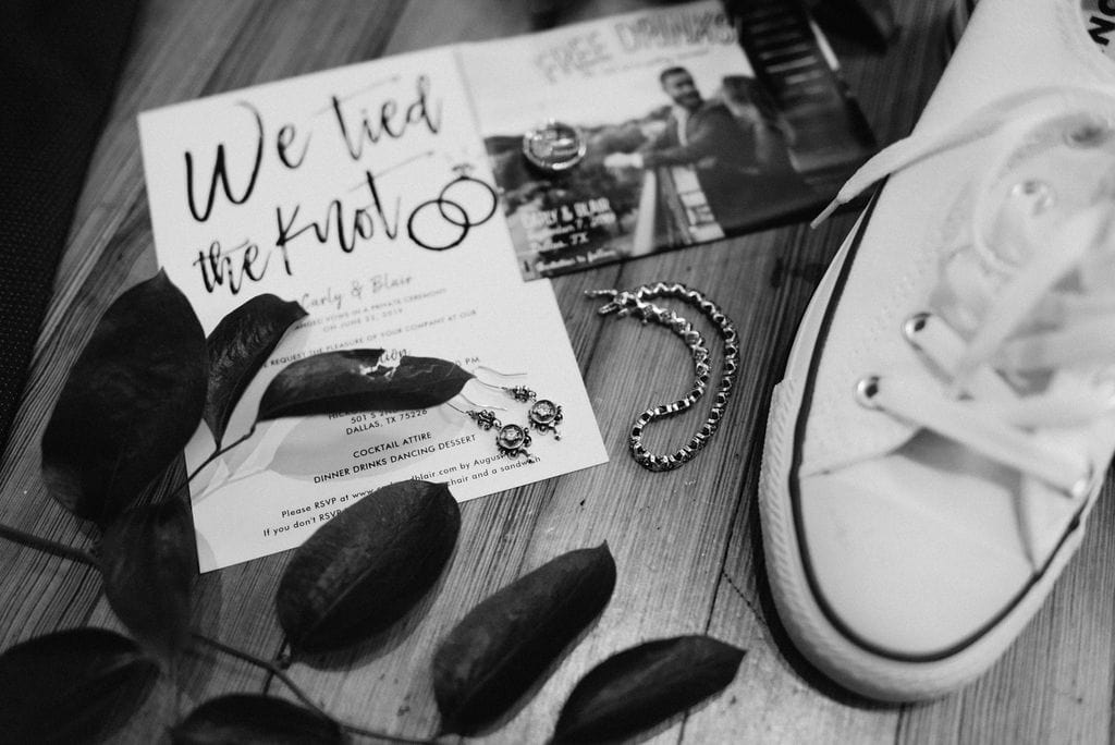 Wedding Rings and Invitations for Dallas Wedding at Hickory Street Annex