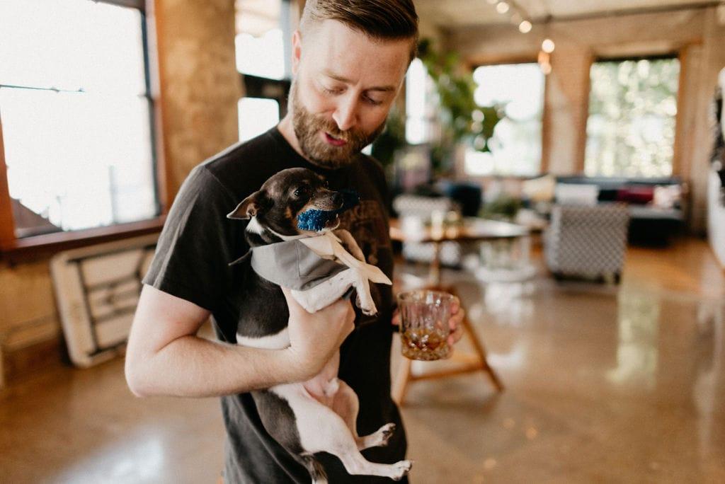 Groom and his dog at dallas wedding