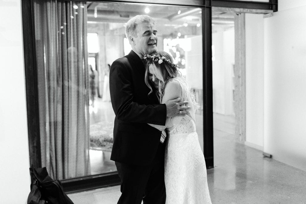 Bride and father first look in dallas