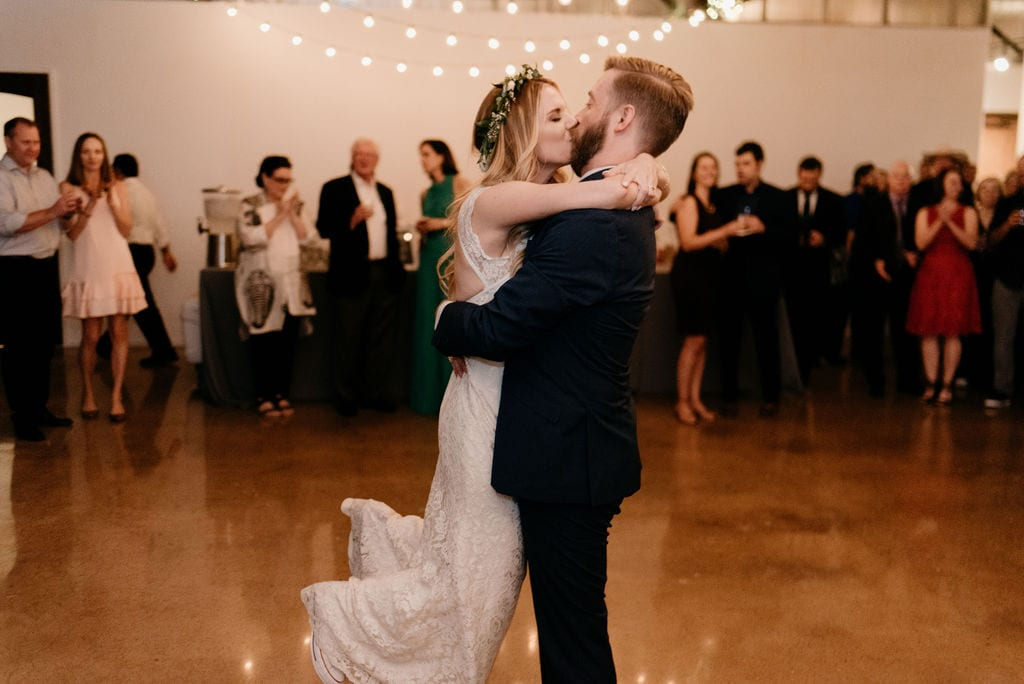 Husband and wife first dance at hickory street annex wedding reception