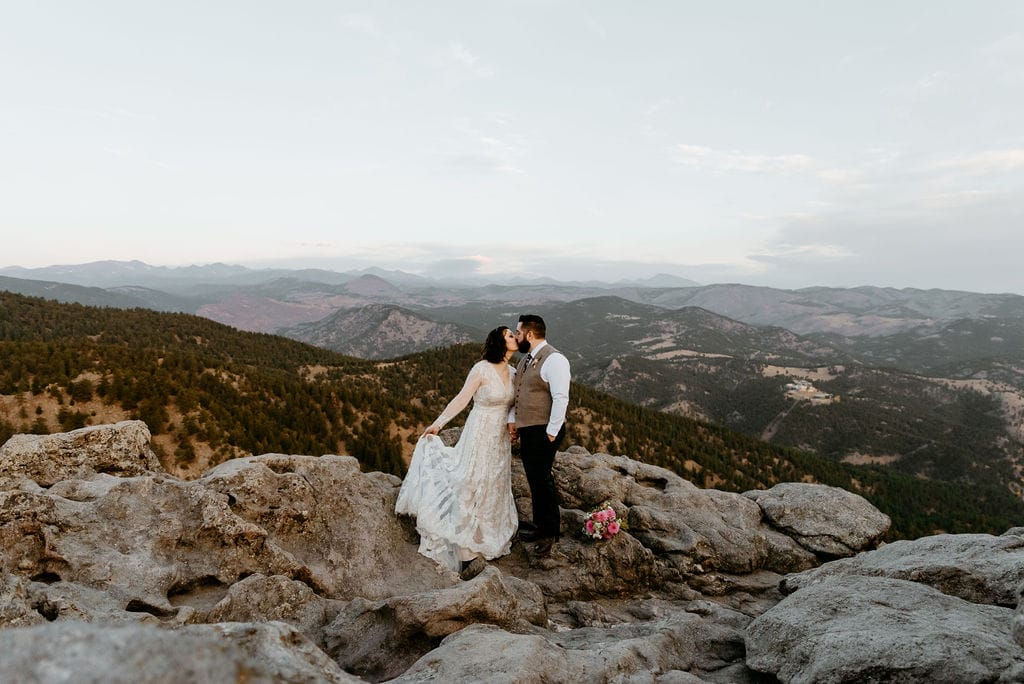 Bride and Groom Kiss at Lost Gulch Elopement
