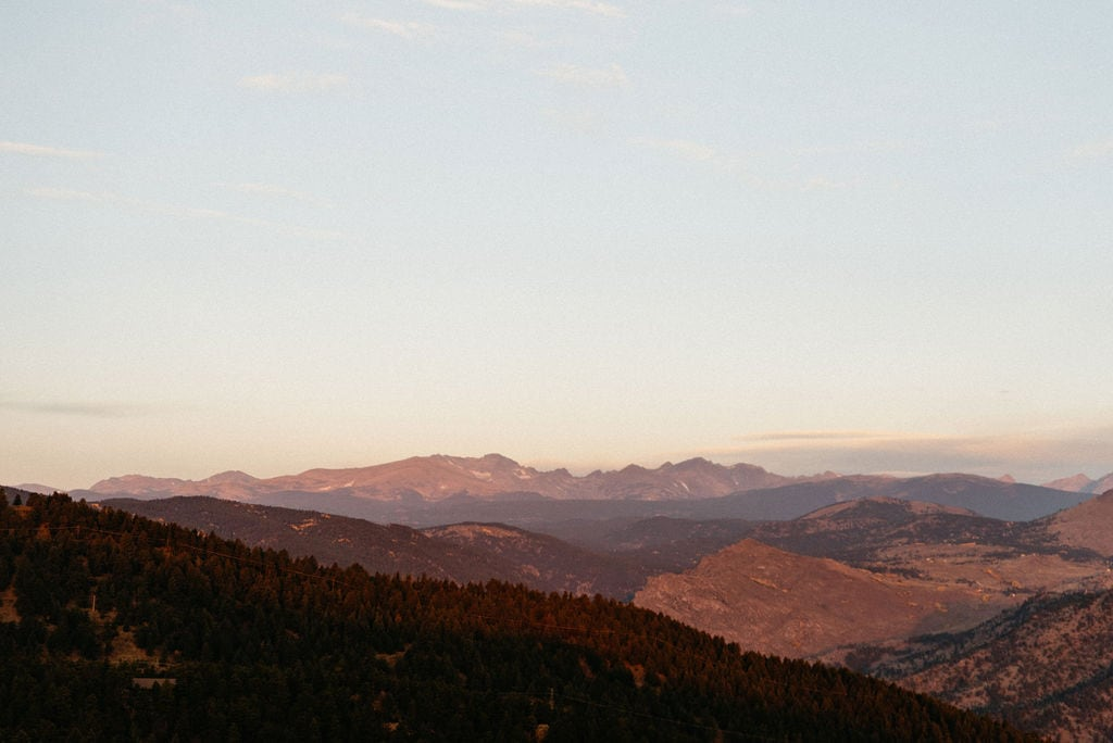 Alpenglow on Continental Divide at Sunrise from Boulder