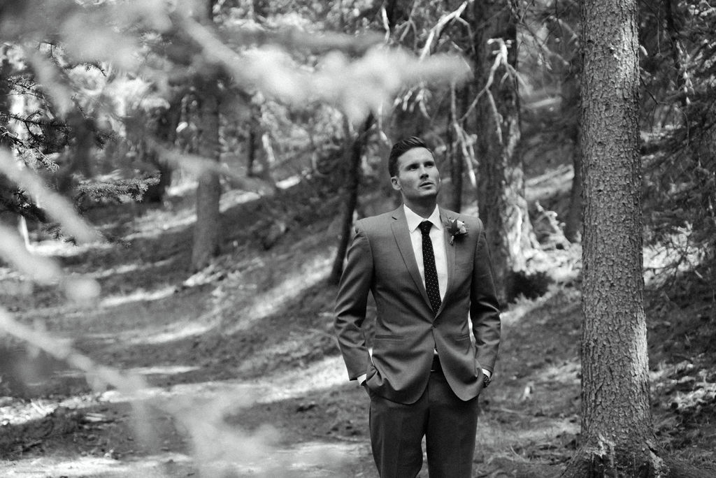 Groom waiting to see his bride for the first time