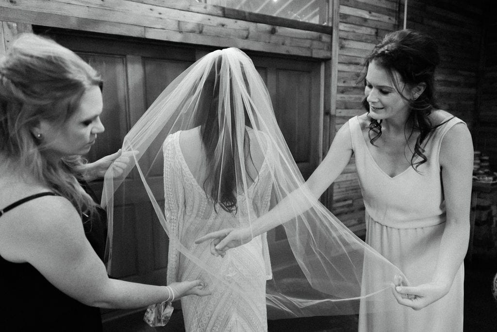 Bride getting ready for ceremony at mountain view ranch