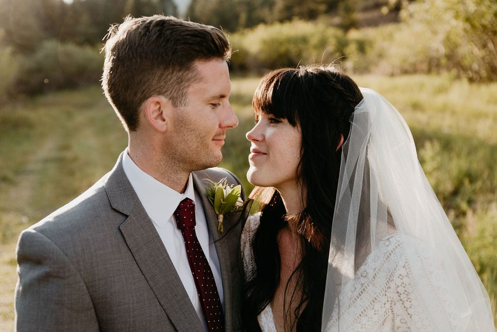 Mountain View Ranch Wedding Portraits at Sunset