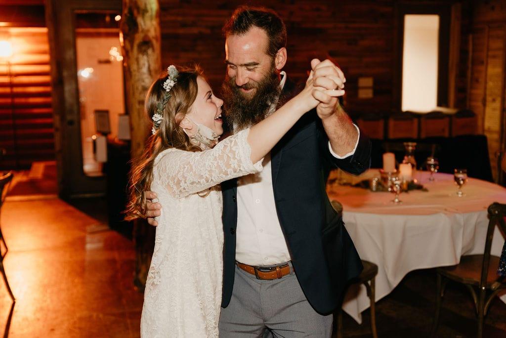 Fun dancing at mountain view ranch wedding