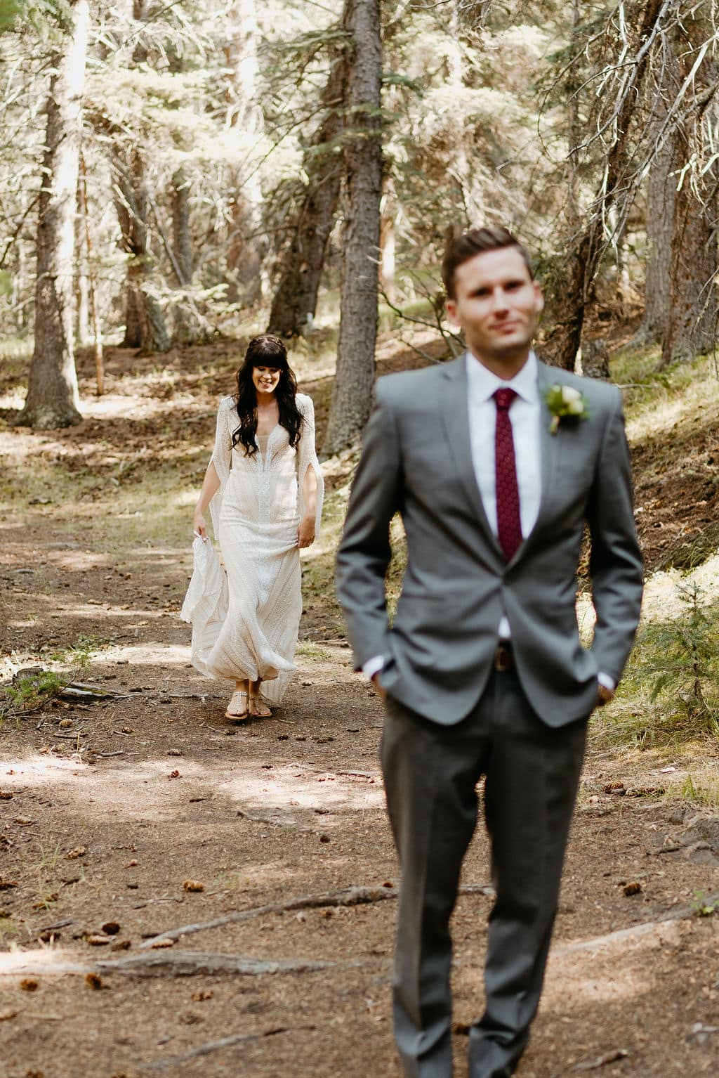 Bride and groom first look in pine colorado