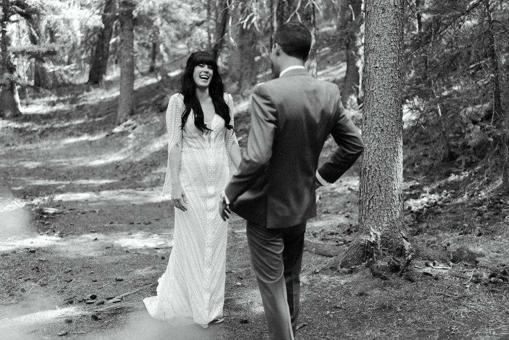 Wedgewood weddings first look pine colorado