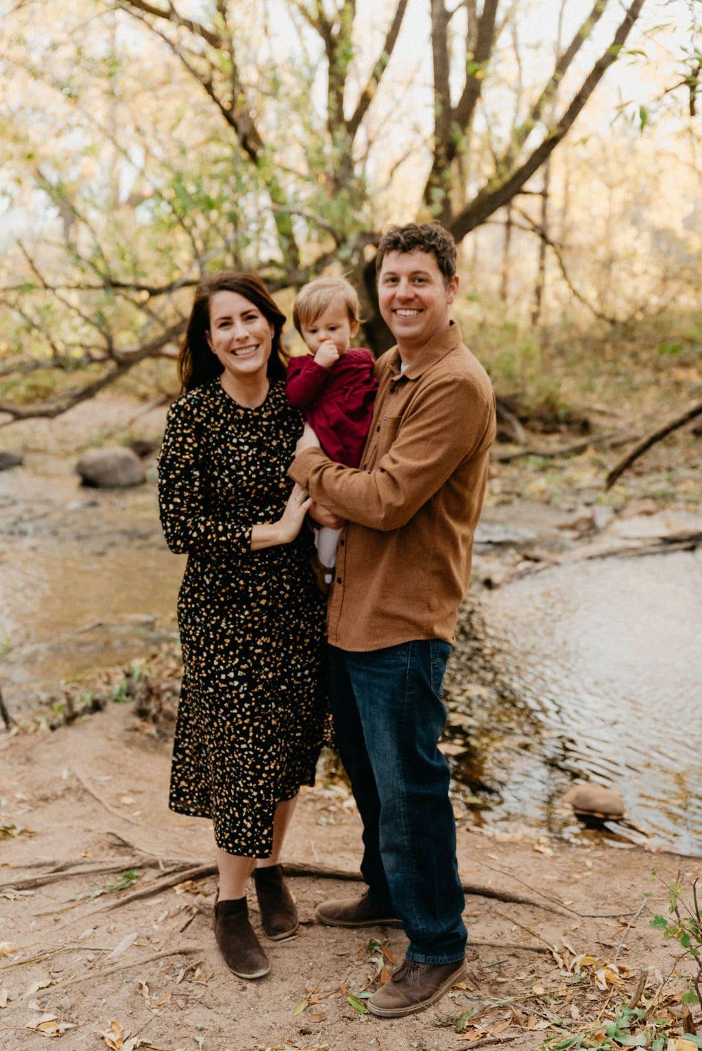 Boulder Family session at sunrise near a creek in boulder