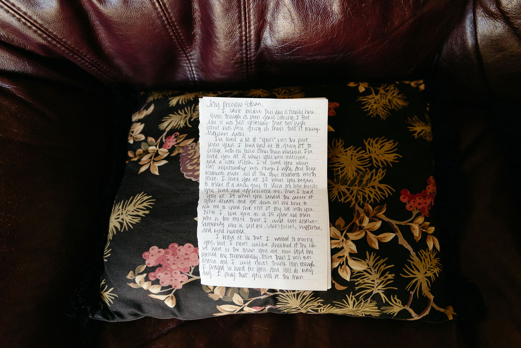 Letter written to the groom on his wedding day from his bride