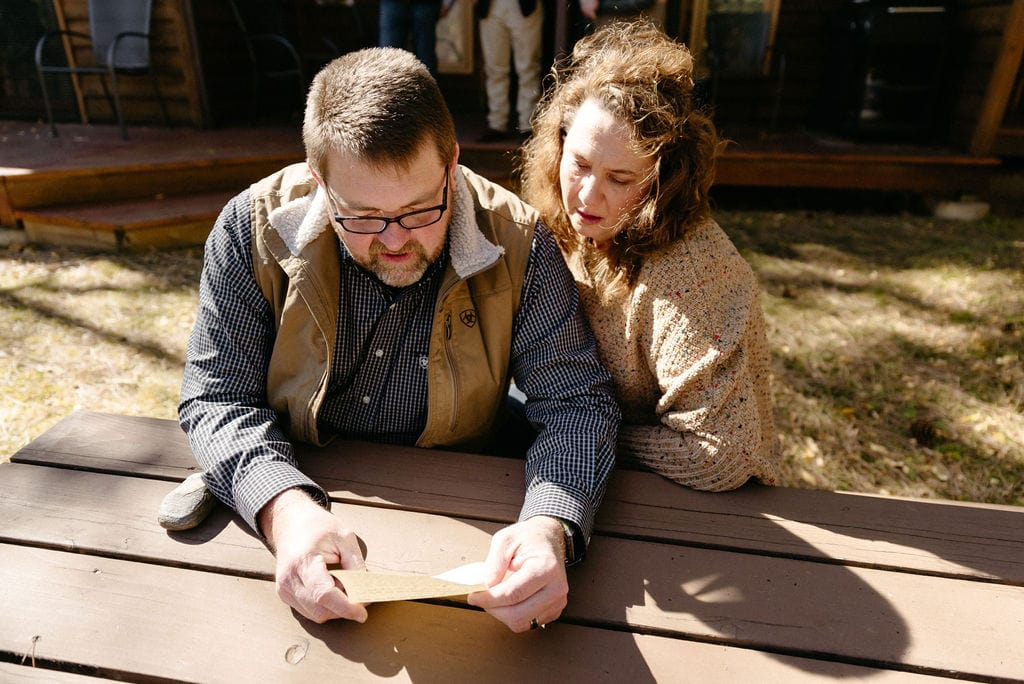 Grooms parents Read Letter from bride before sprague lake elopement
