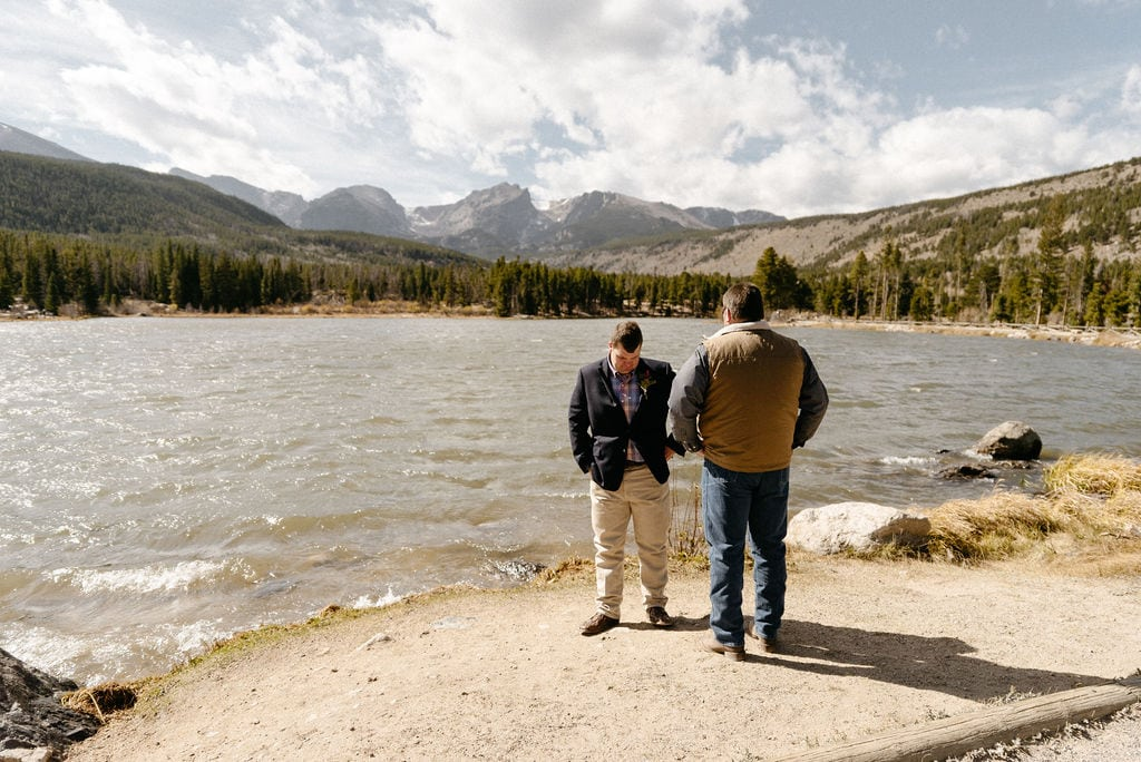 Groom awaits his bride at sprague lake