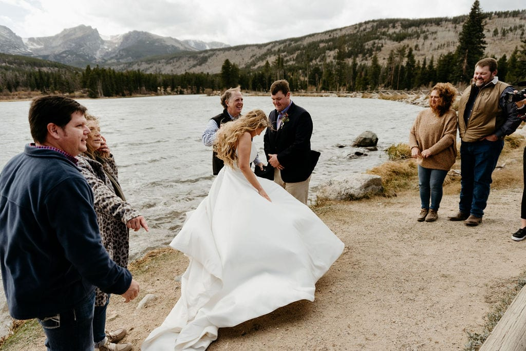 Windy and Cold Sprague Lake Elopement in the fall