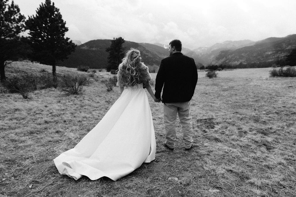 Bride and groom soak up the gorgeous scenery in rocky mountain national park