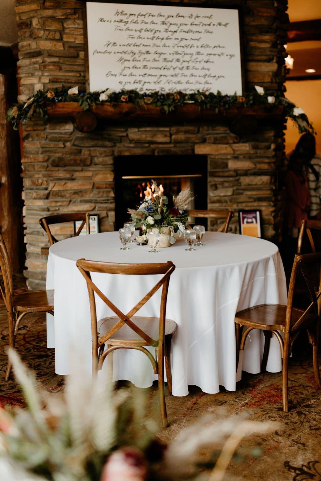 Wedding details at estes park resort wedding reception