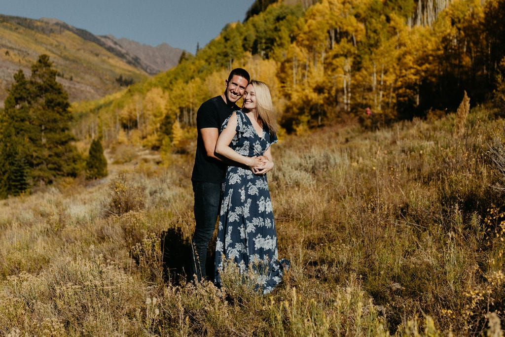 Engagement Photos in Vail Colorado with Fall Colors