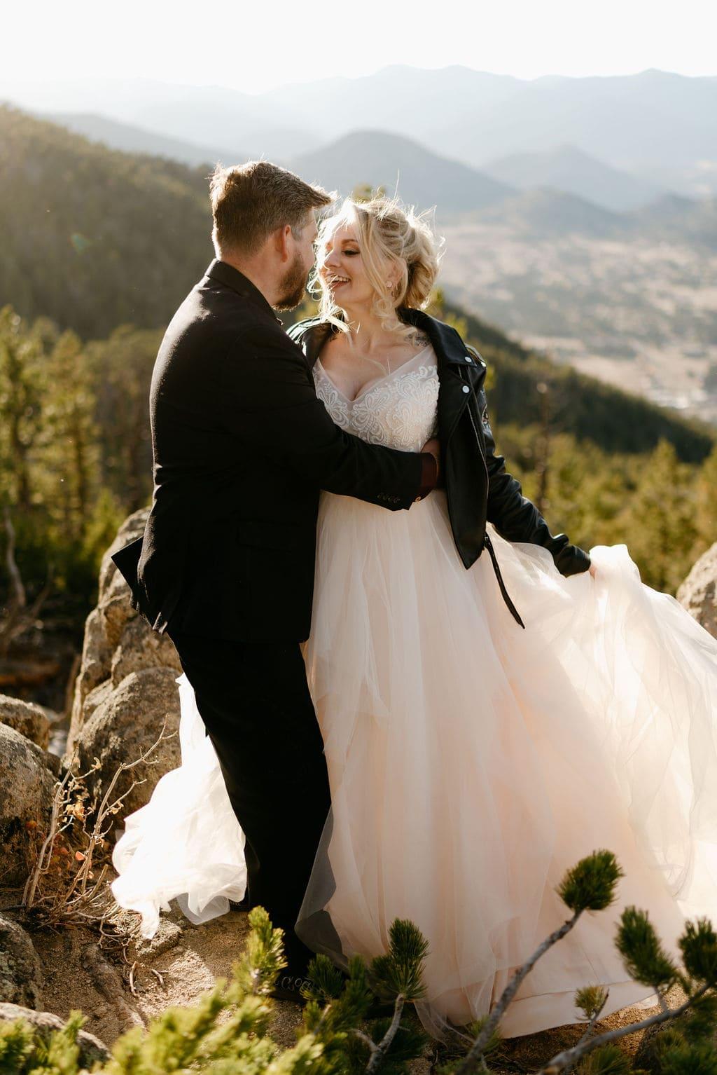 Hermit Park Elopement Bride and Groom Golden Hour Wedding Portraits Estes Park