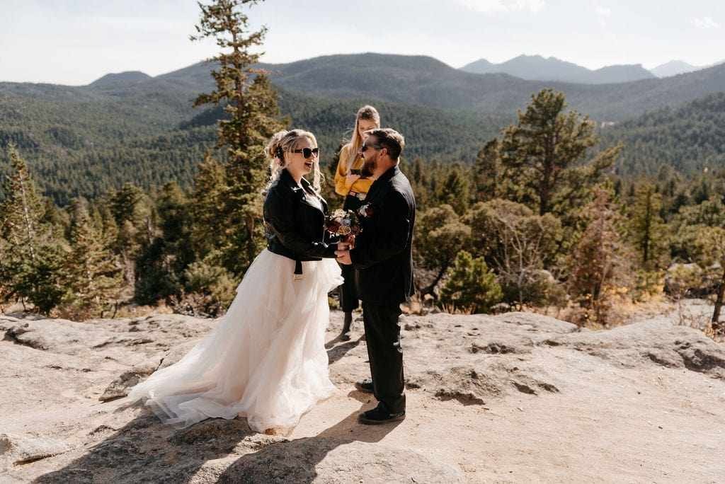 Gorgeous wedding ceremony at hermit park in estes park colorado