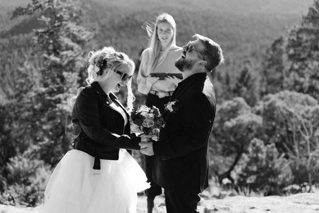 Bride and groom laugh at their hermit park elopement