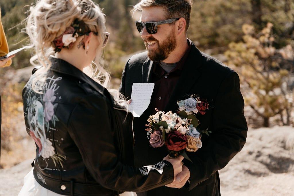 Bride reads vows to groom at their hermit park elopement