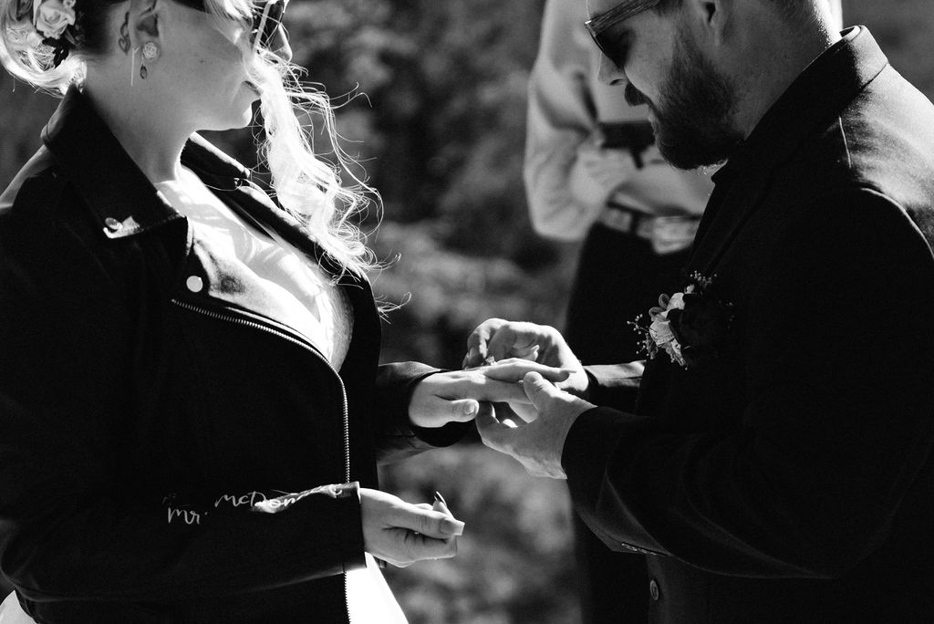 Ring exchange in the mountains at estes park elopement