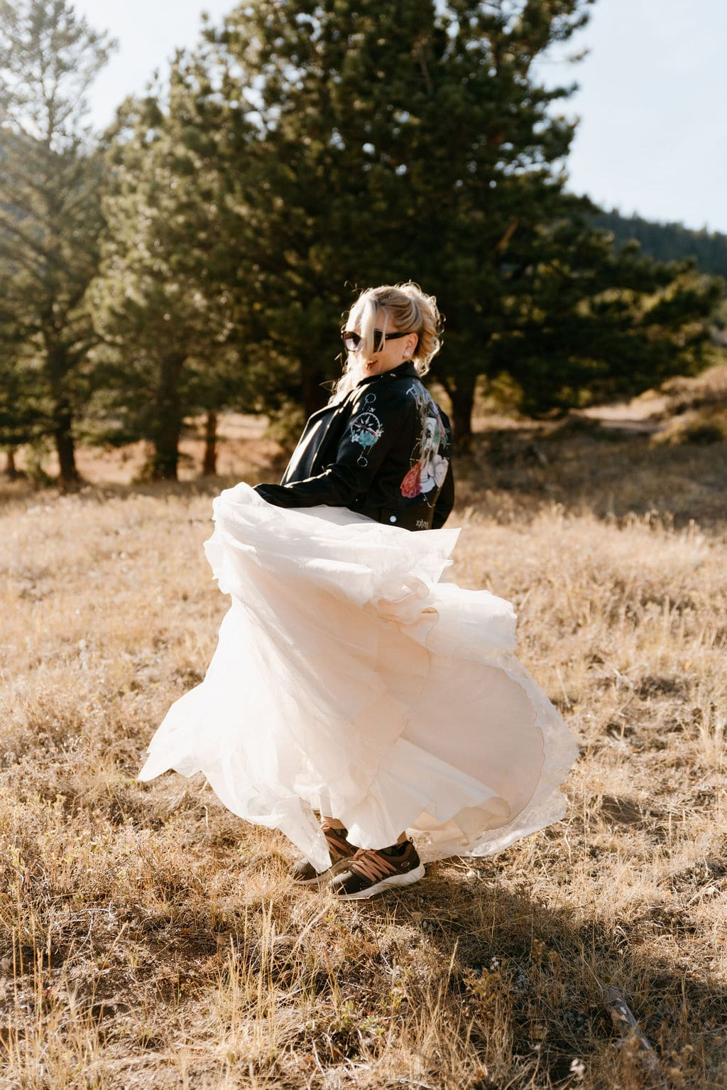 Bride spins in her dress