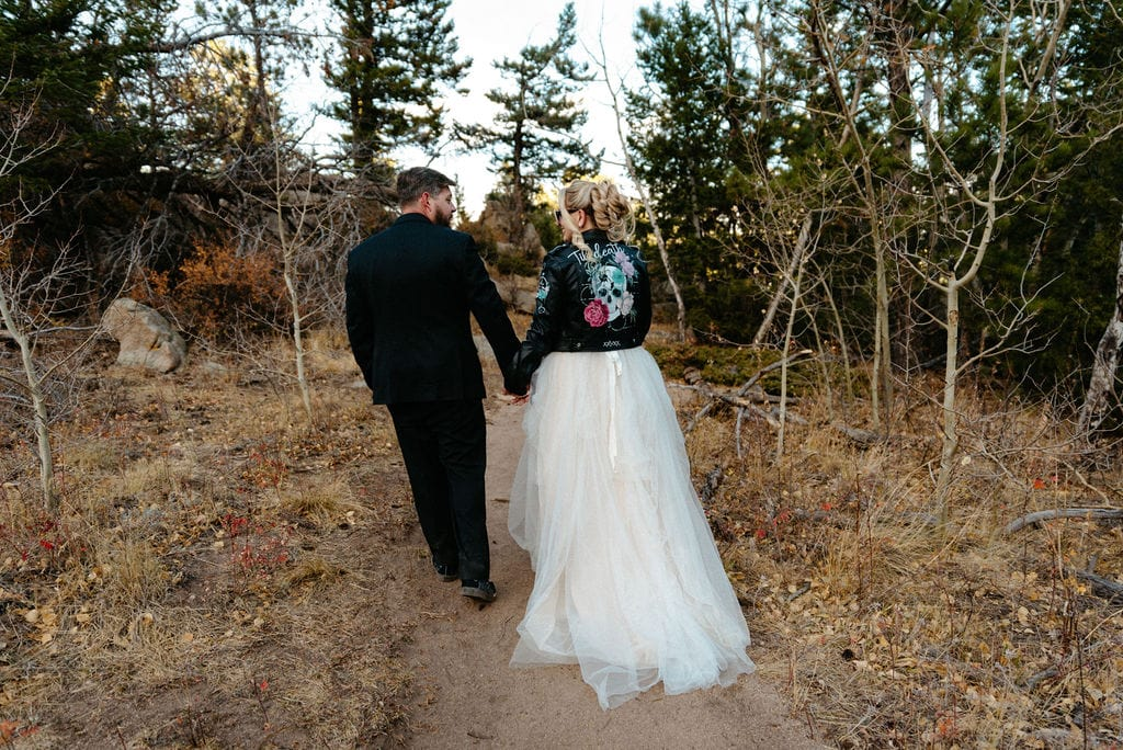 Wedding portraits done on Kruger rock trail in hermit park
