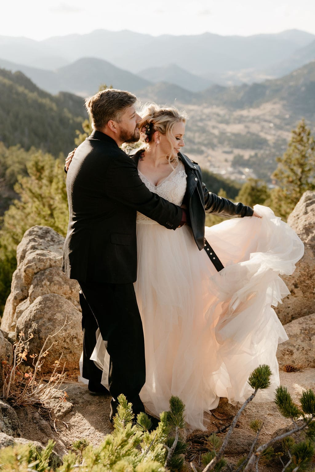 Golden Hour Wedding Portraits on Kruger Rock Overlook in Estes Park, Colorado