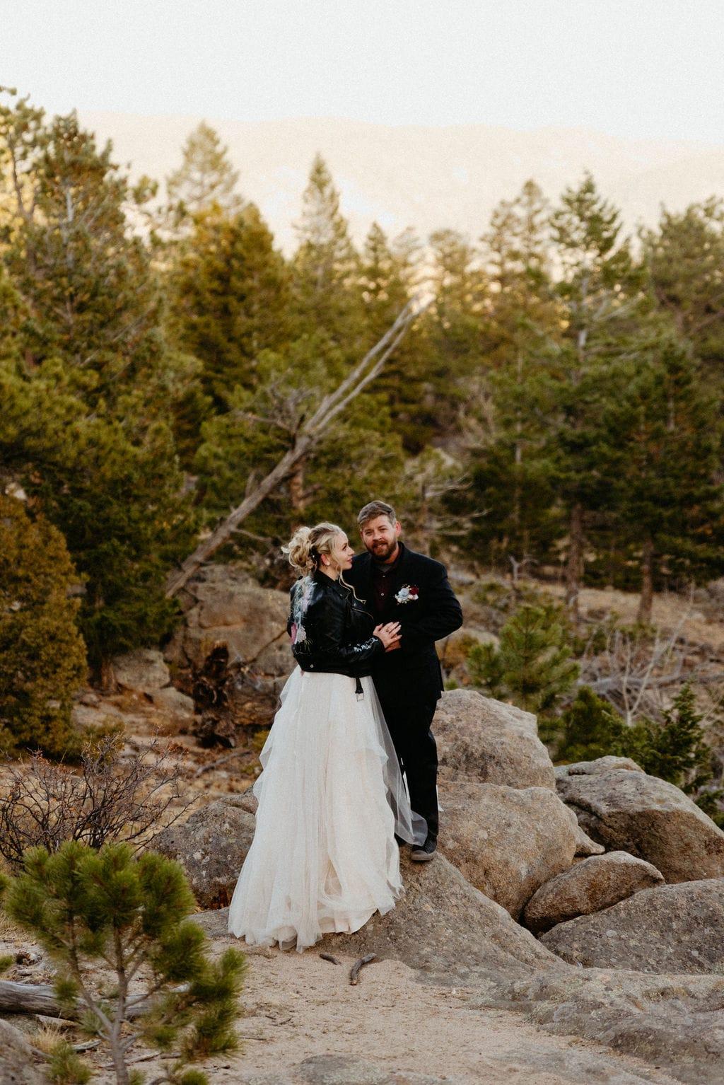 Estes park romantic sunset wedding portraits