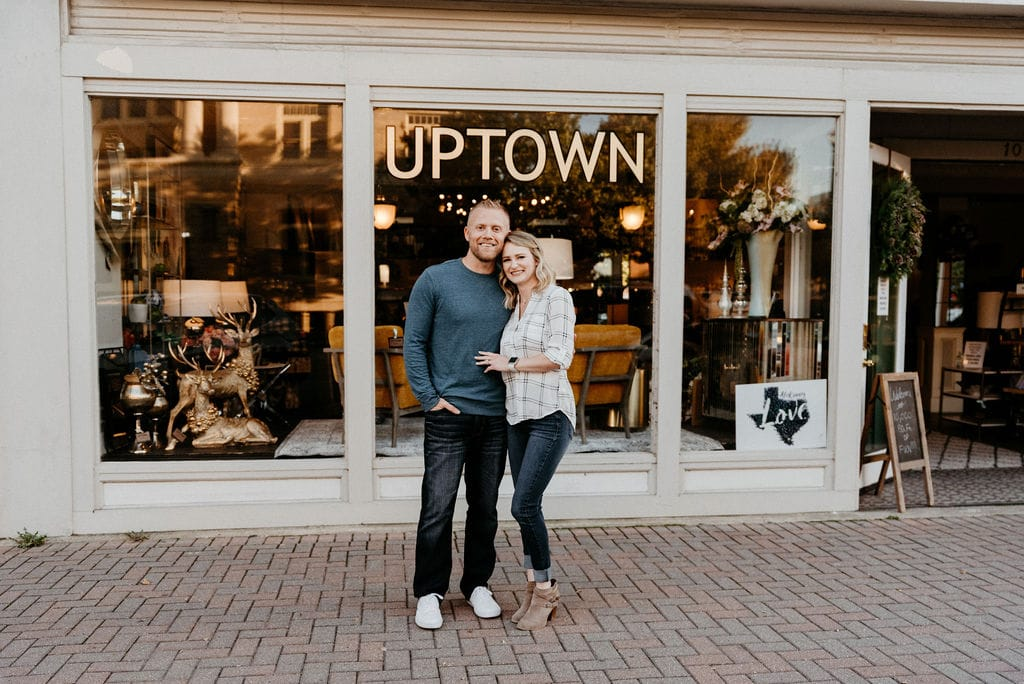 Couple poses in downtown mckinney