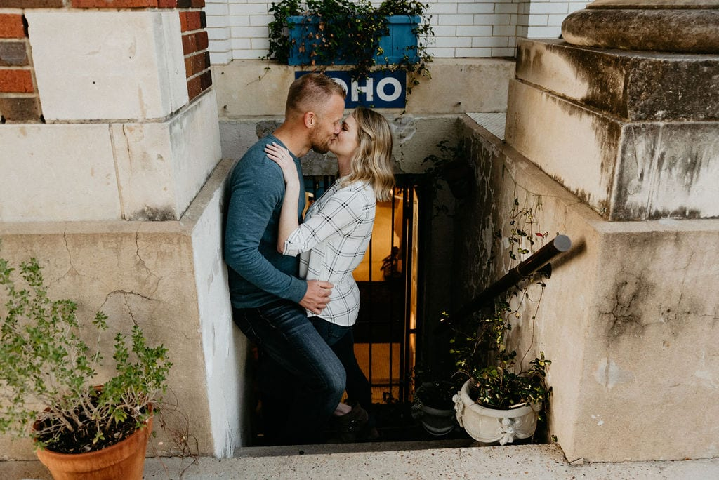 Romantic McKinney Texas Engagement Session in the Square