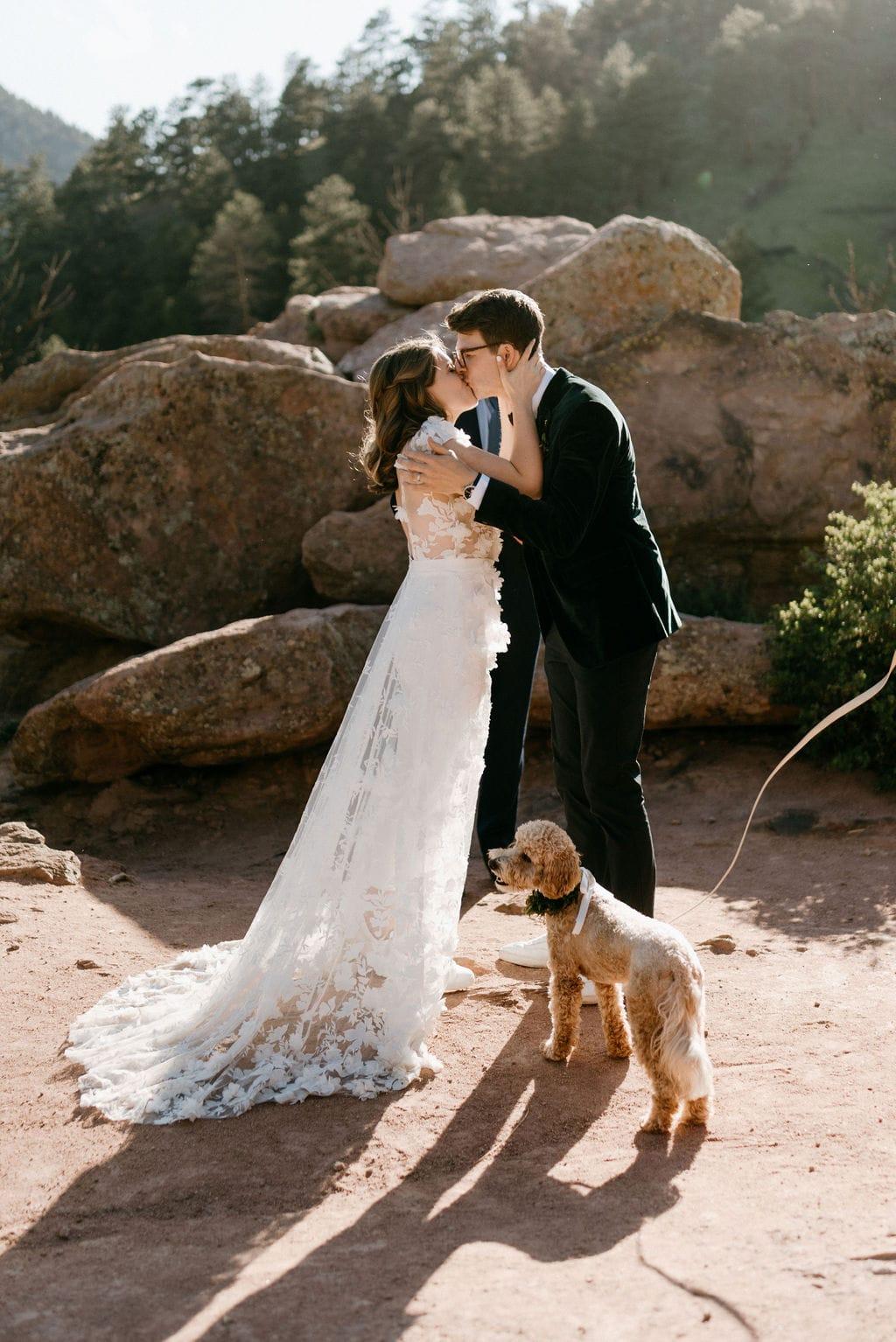 Bride and Groom Kiss at Boulder Colorado Elopement at Settlers Park