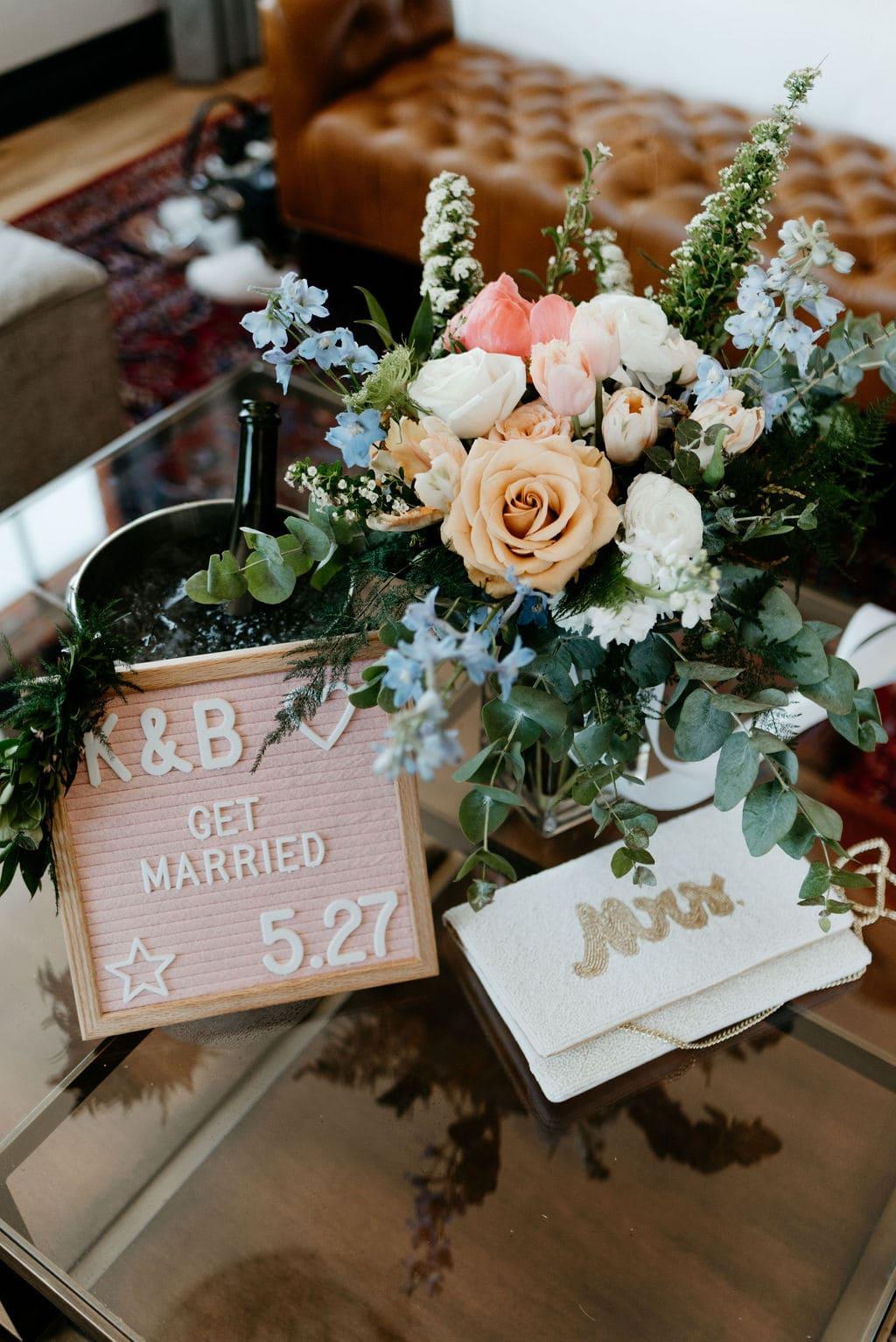Floral Arrangment at The Ramble Hotel Denver Colorado Elopement