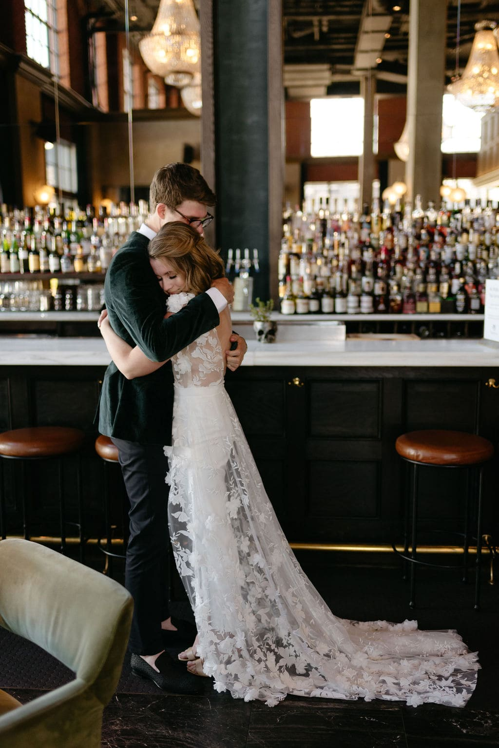 Couple Hugs During First look at Denver Colorado Elopement at The Ramble Hotel Downtown