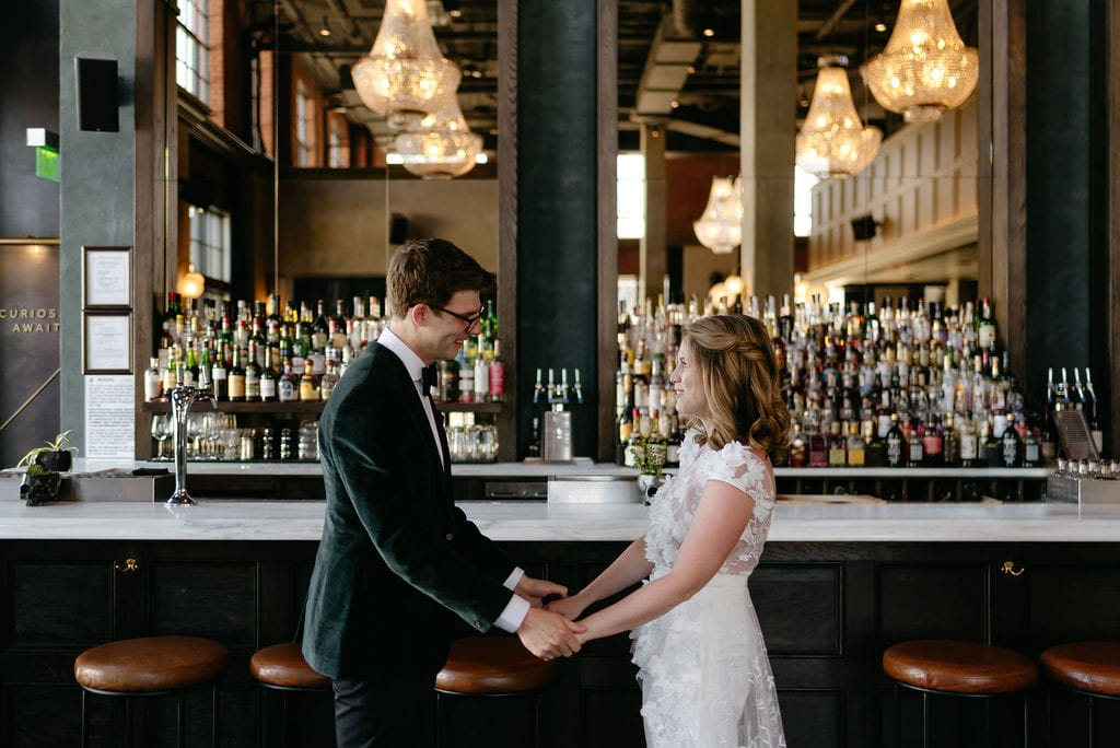 Couple Portraits During First look at Denver Colorado Elopement at The Ramble Hotel Downtown