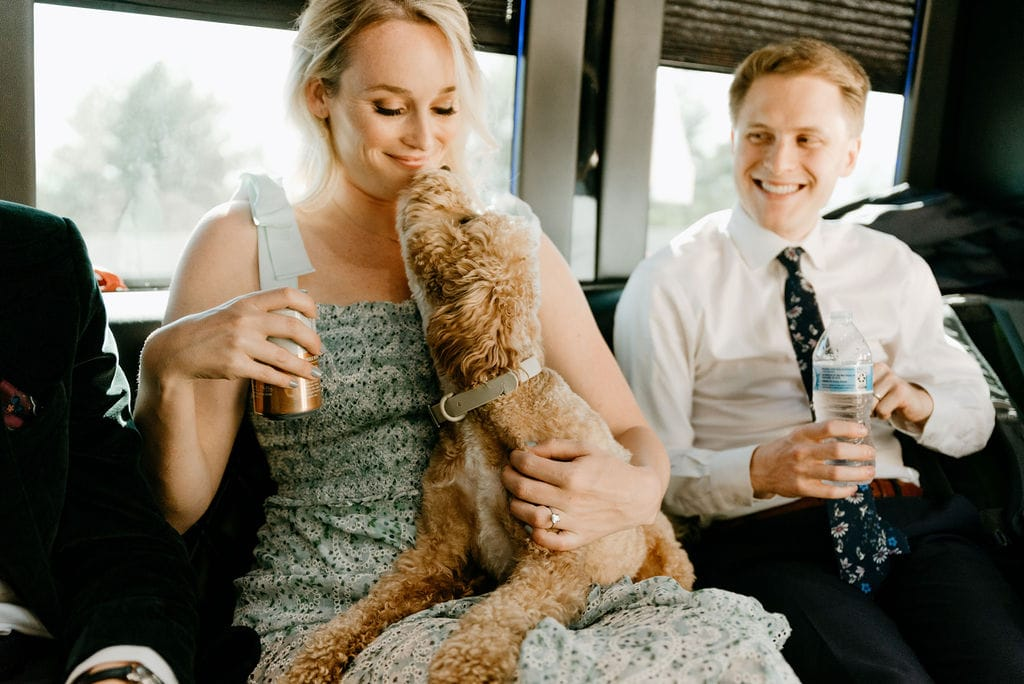 Friends on a party bus on the way to their Boulder Colorado Elopement