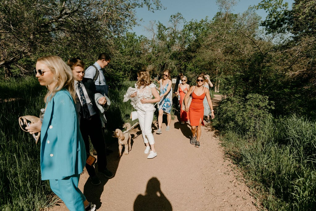 Group of friends hike to settlers park for boulder colorado elopement