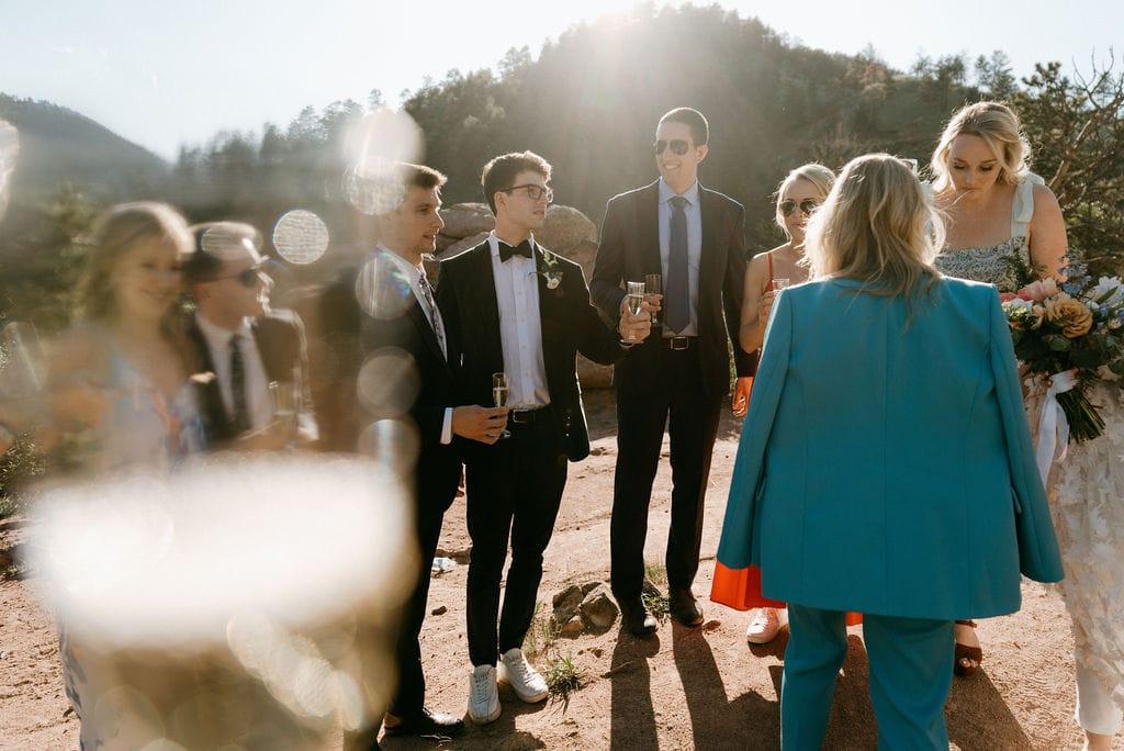 Wedding day toast in boulder colorado