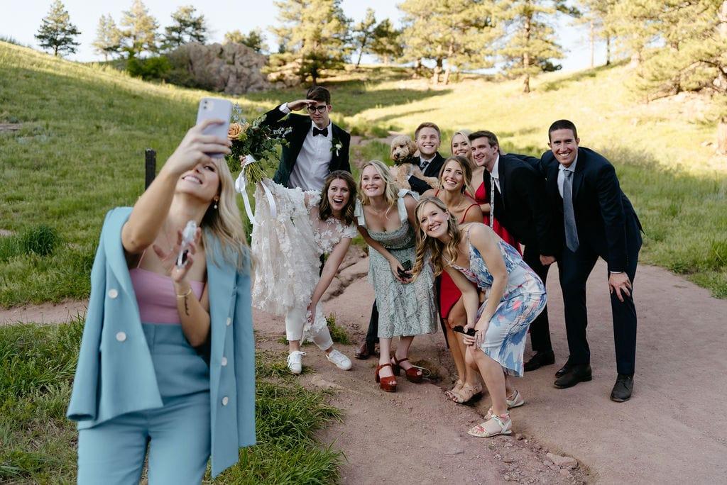 Wedding Day Selfie at Settlers Park Elopement in Boulder