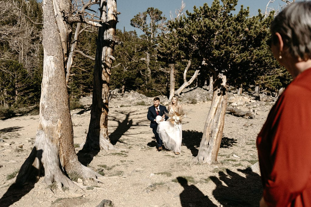 Brother walks bride to ceremony at st marys glacier