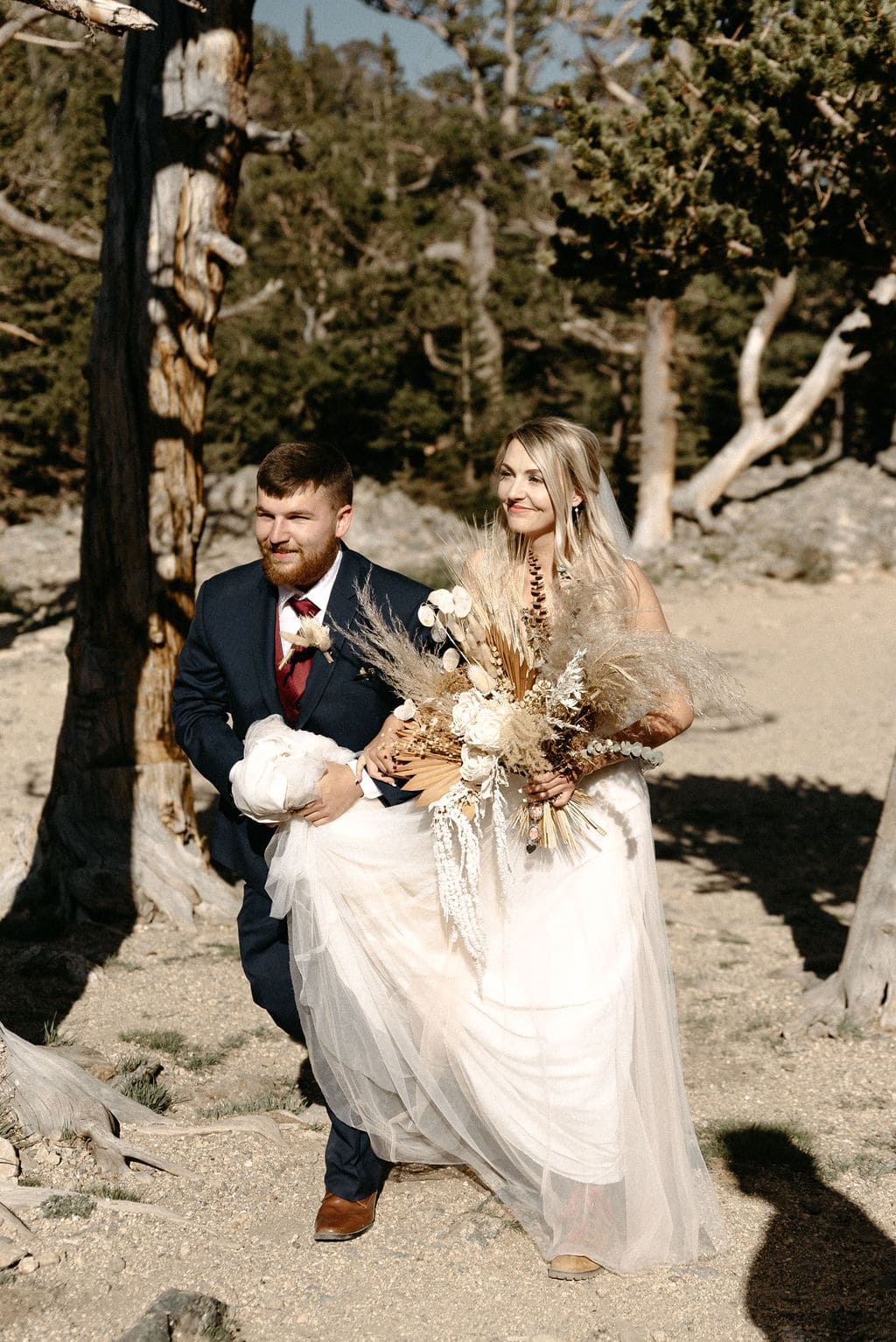 Bride with her Brother at St Marys Glacier Colorado Elopement