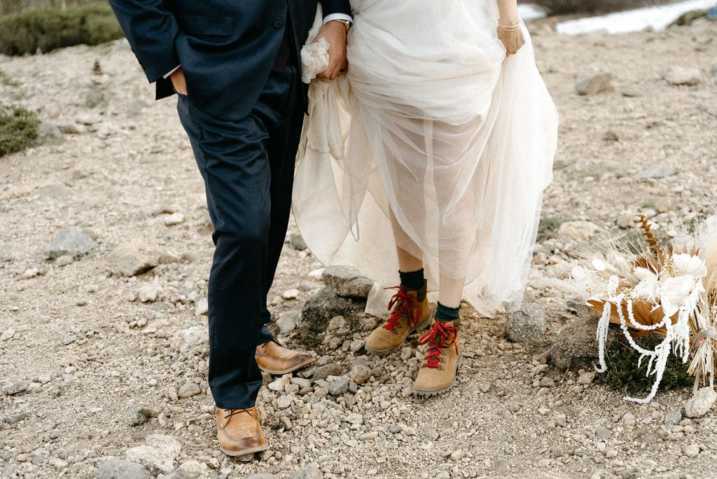 Couples Hiking boots at hiking elopement in colorado