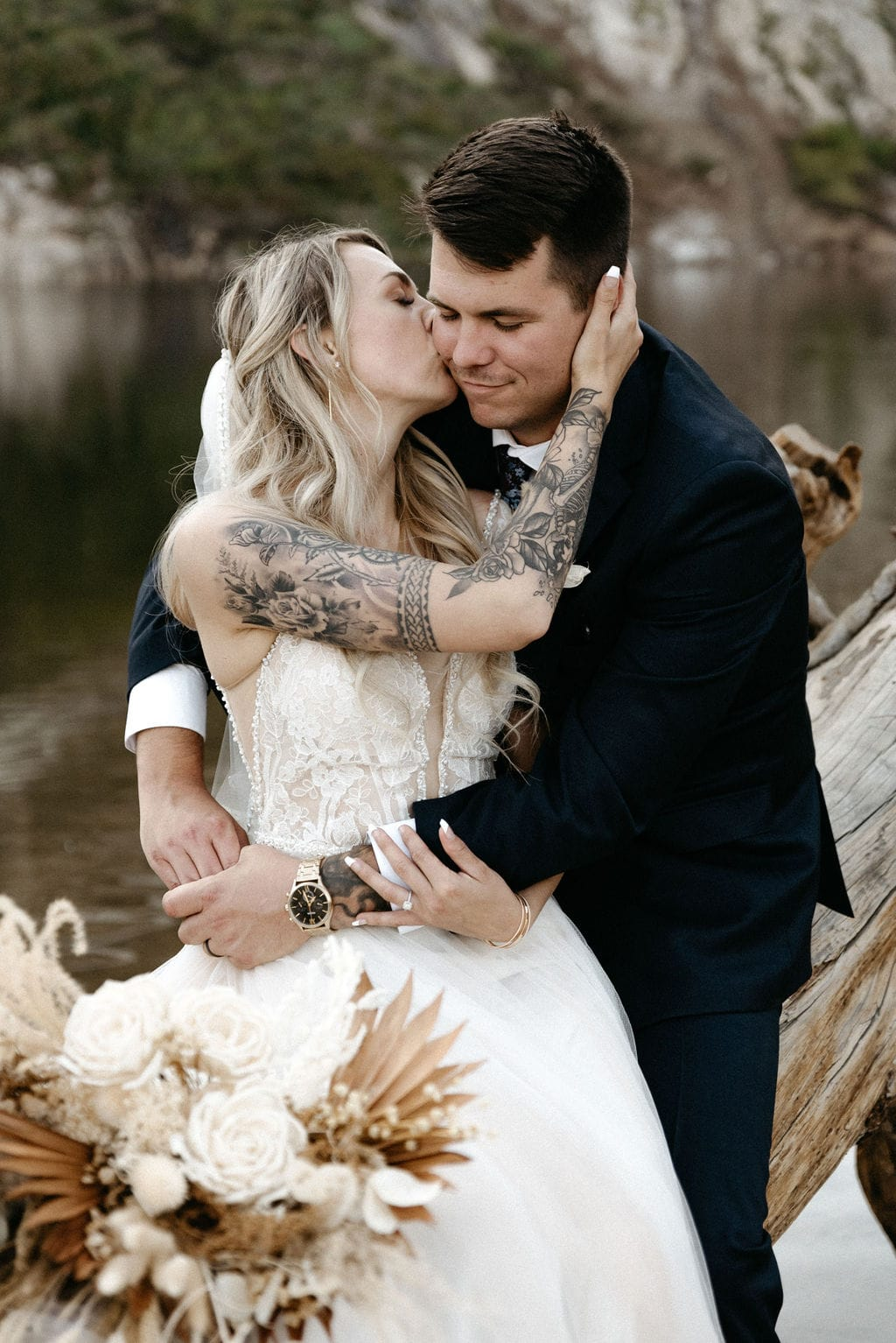 Bride and Groom Elope next to the lake at St Marys Glacier in Colorado