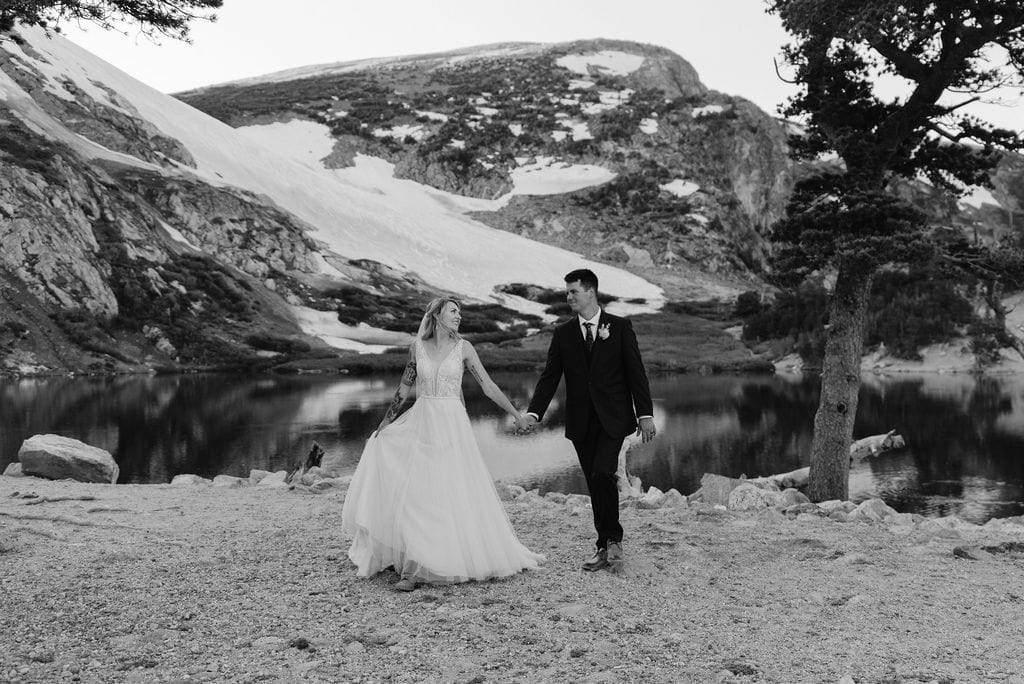 Romantic wedding day hike at Colorado Elopement at st marys glacier