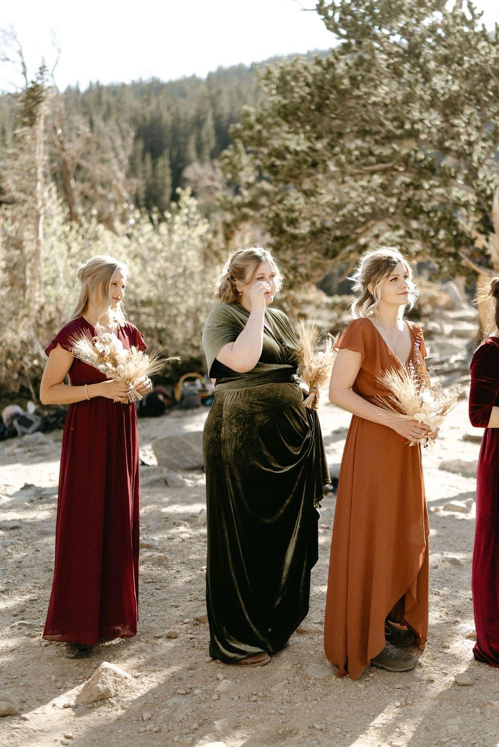Sister crys at wedding in colorado